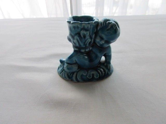 Candelabro- adorno antiguo de cerámica esmaltada, años