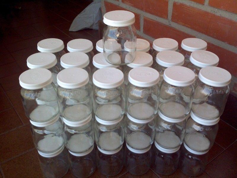 Lote De 55 Frascos Envases Vidrio Vacios Yogur Dahi Con Tapa
