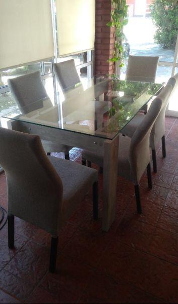 Mesa de comedor vidrio y cromo   Posot Class