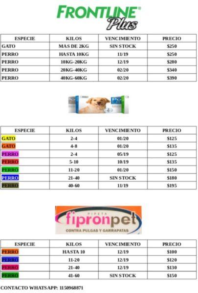 Pipetas para perros y gatos varias marcas