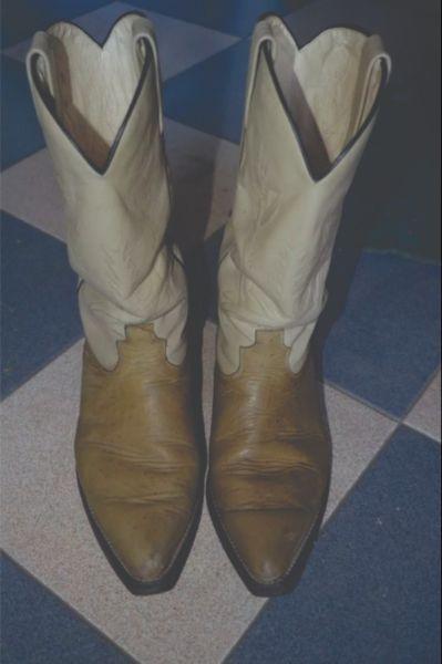 Botas De Cuero De Avestruz-hombre- Tipo Texana