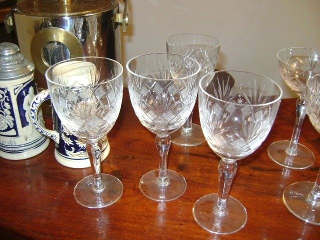 Juego De 4 Antiguas Copas De Cristal Para Agua Talladas