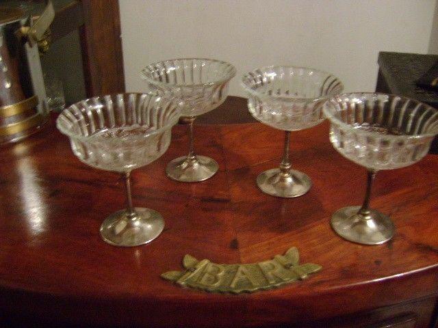Juego De 4 Antiguas Copas De Cristal Para Helado