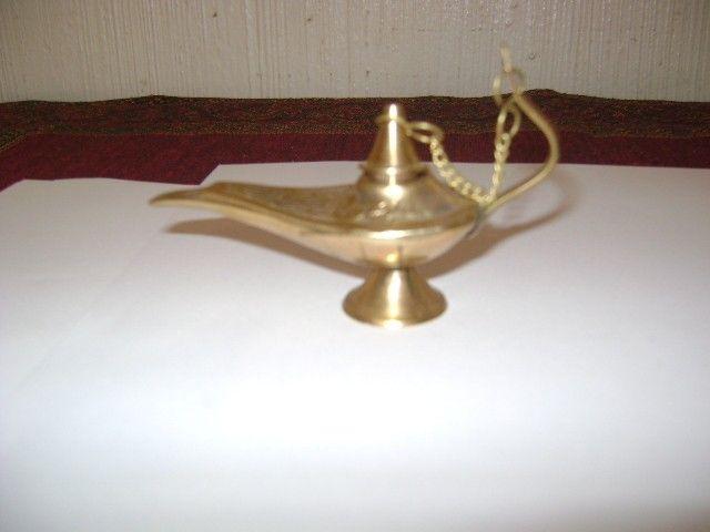 Antigua Lamparita De Aladino 4en Bronce Macizo De Marruecos