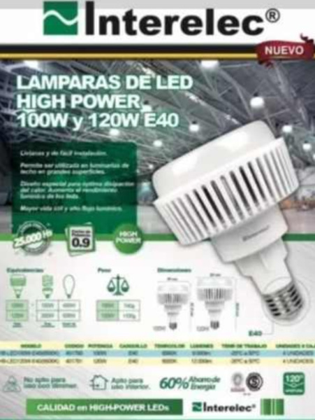 Lampara Led 100w Y 120w E40 Interelec