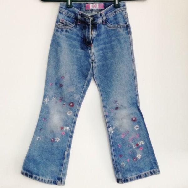Pantalón Jeans Nena Con Florcitas Talle 6.