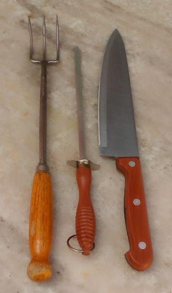 Set De Asador Ideal Cuchilla+tenedor+chayra Para Parrilla