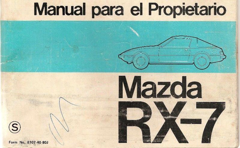 Manual de usuario MAZDA RX7 -año  - en formato