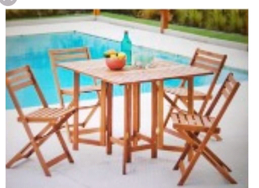 Set madera mesa plegable + 4 sillas