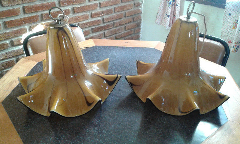 2 Grandes lámparas Colgantes- Capelina retro de Cristal