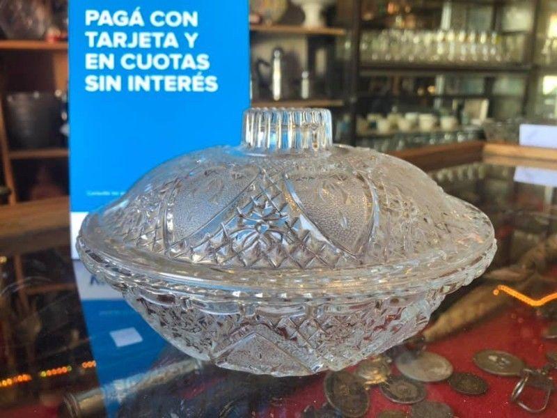 Antigua Caramelera/potiche De Cristal Tallado