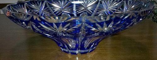 centro mesa de cristal tallado diamante azul