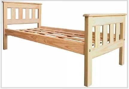 Cama de pino 1 plaza + colchón + 2 juegos de sábanas