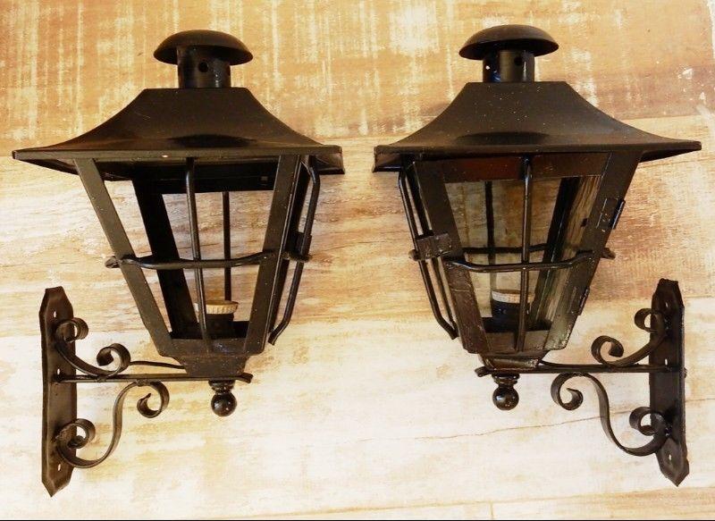 El Restaurador - Antiguo par de Faroles de hierro labrado
