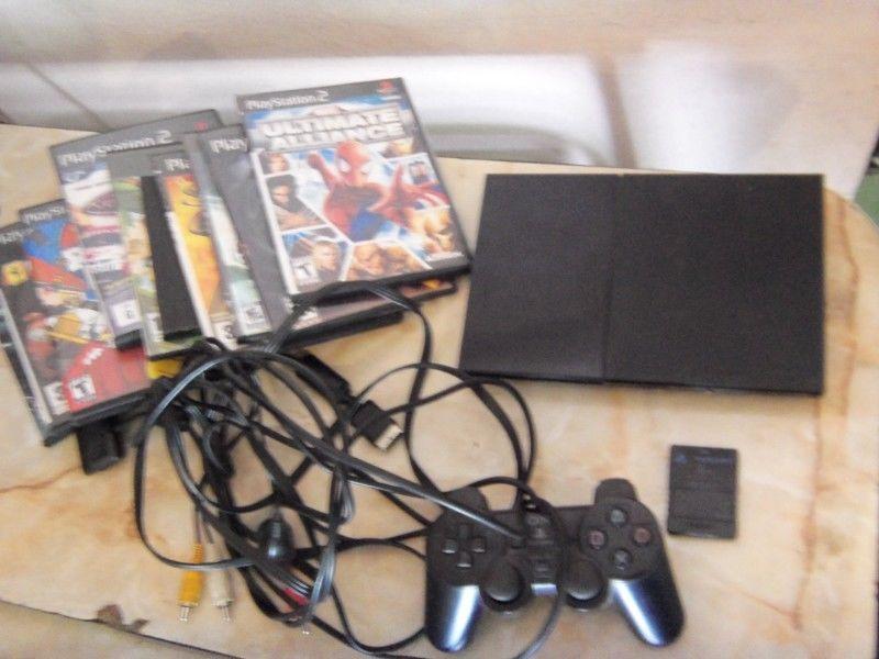 Play 2, PS2, slim, con 1 joystick, memoria, y 10 juegos,