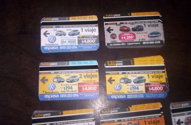 Tarjetas Subtepass Serie Autos Gol Suran Etc Lote 504