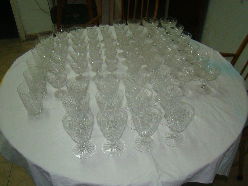 Copas De Cristal Tallado Antiguas Juego 65 Piezas