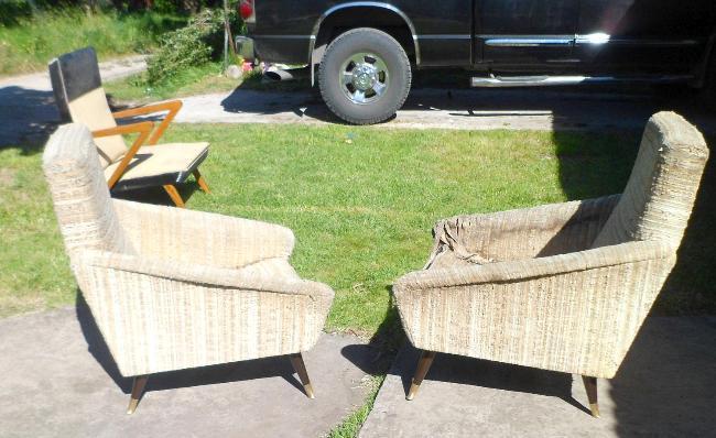 par de sillones diseño retro vintage restaurados solo a