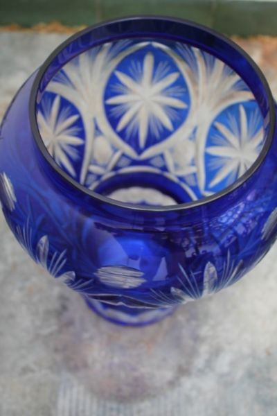 Jarrón Florero De Cristal Azul Con Tapa