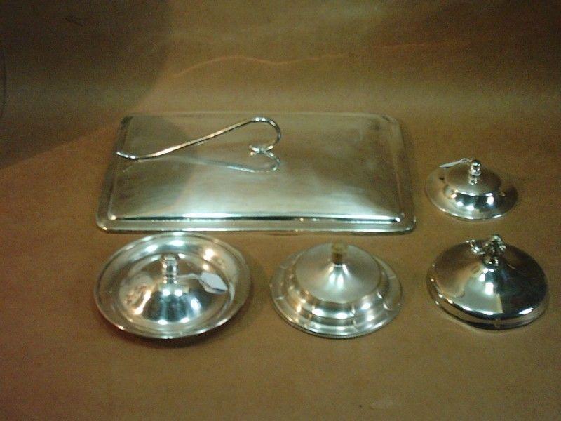 Antigua Tapas De Metal Plateado Repuesto De Vajilla