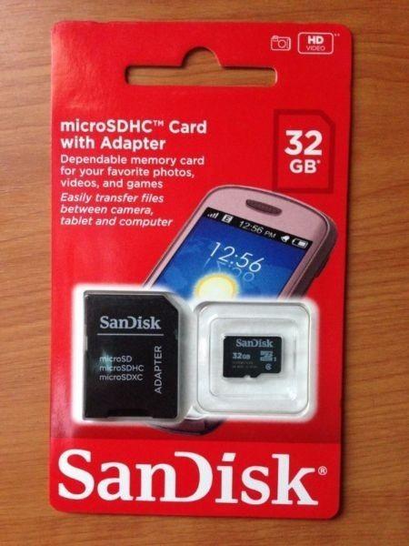 Memoria SanDisk Tarjeta MicroSDHC 32GB con Adaptador