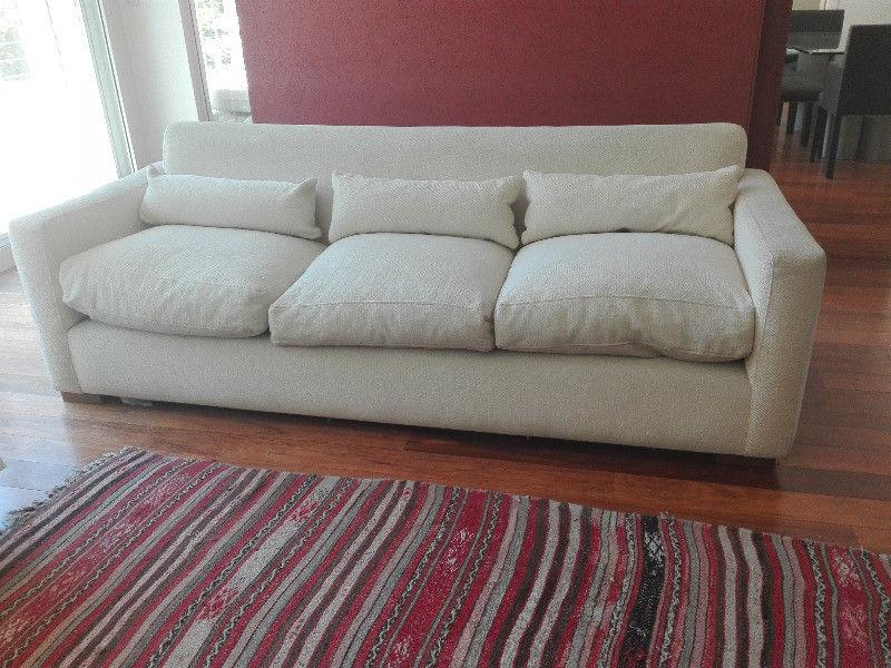 Sofa 3 Cuerpos Tela Solida Olivos