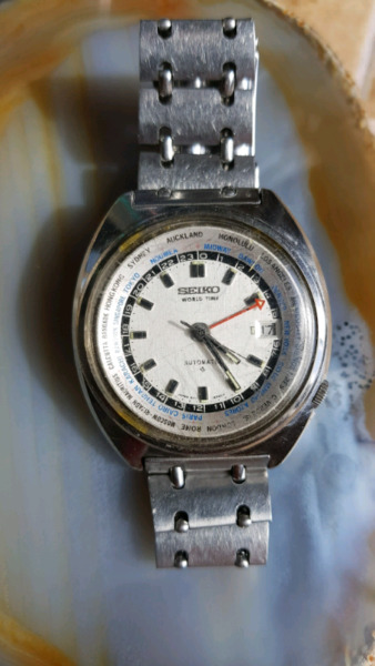 0c79459c1acd Reloj seiko antiguo world time funcionado (hora mundial)