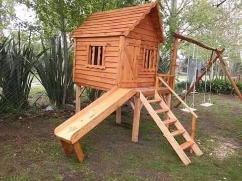 vendo casita con tobogan y hamaca de madera