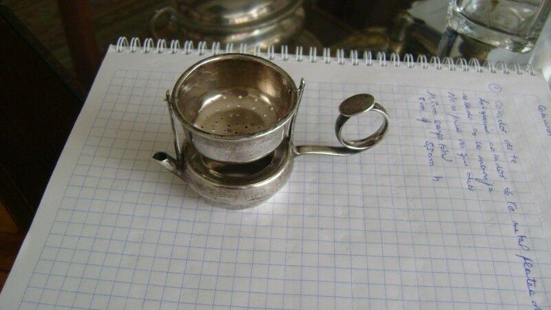 Antiquisimo Colador De Te En Metal Plateado