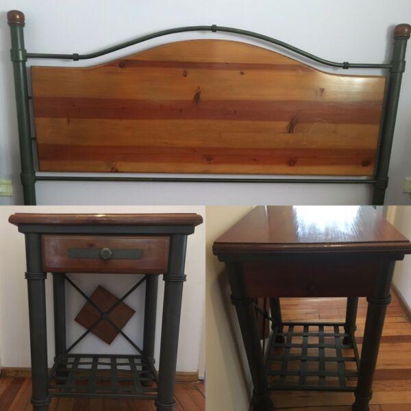 Juego de dormitorio en hierro y madera