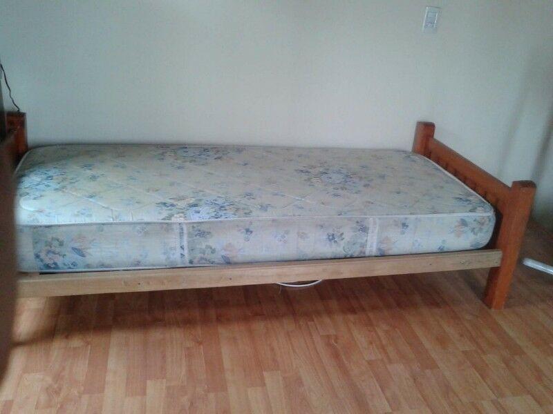Cama de pino de 1 plaza, con colchón