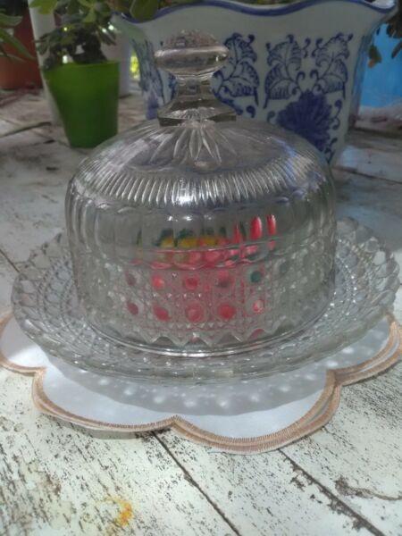 Caramelera/bombonera antigua vidrio facetado y tallado