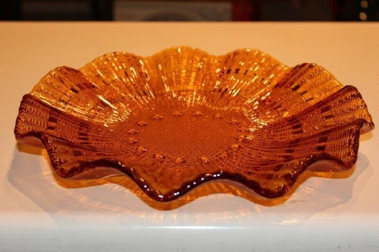Fuente centro de mesa de vidrio, vintage, color camarelo