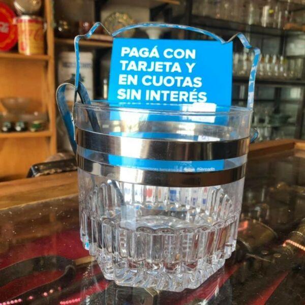 Hielera De Cristal Con Pinza De Plata Sellada