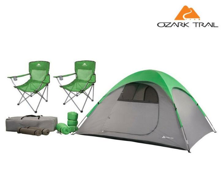 Carpa Ozark Trail 4 Pers + 2 Bolsas De Dormir + Sillas Combo