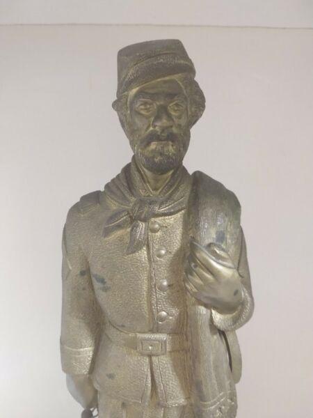 Soldado argentino de bronce macizo antiguo 37 centímetros