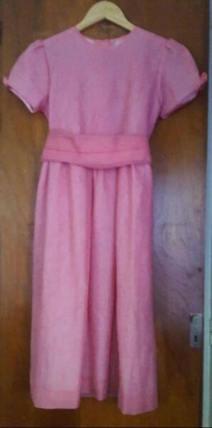 Vestido Coral De Nena Mangas Cortas Para Fiesta. Talle 10