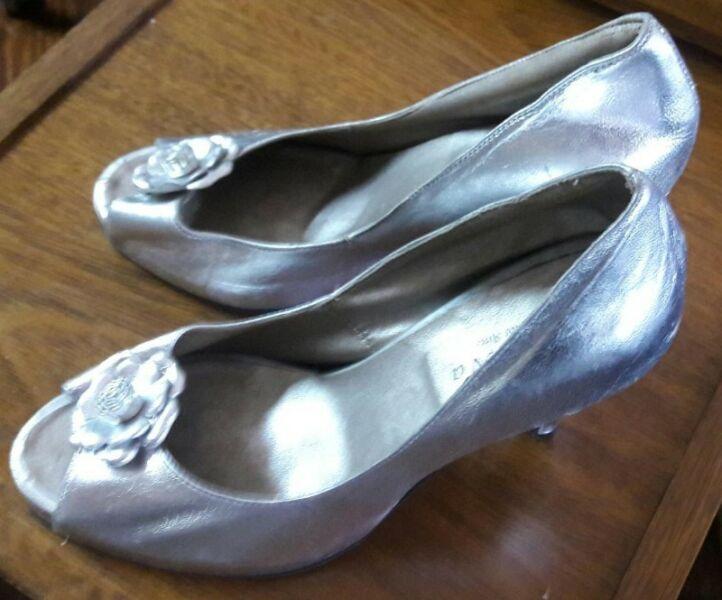 Zapatos De Cuero Plateados Stilettos con Plataforma