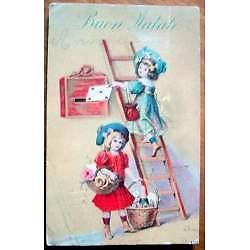 antigua postal deseos de buen año en italiano firmada w.