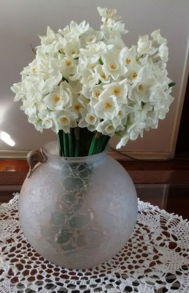 florero anfora esfera, redondo, vidrio imitación craquel