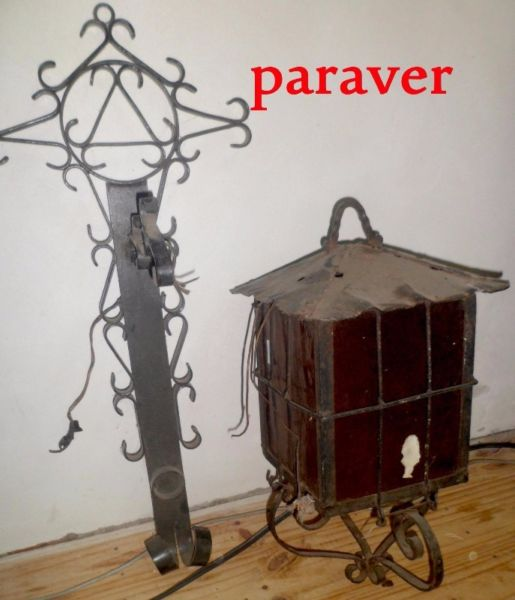 Antiguo Farol Con Ménsula De Pared Hierro Importante Hay+