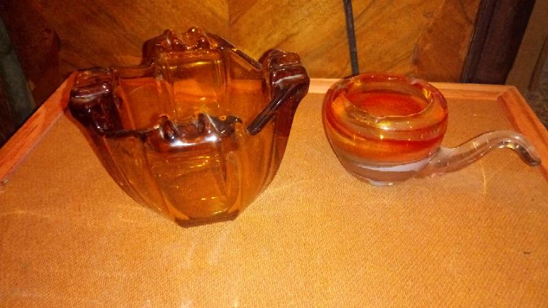 Antigua pipa cenicero de cristal de murano y cenicero color
