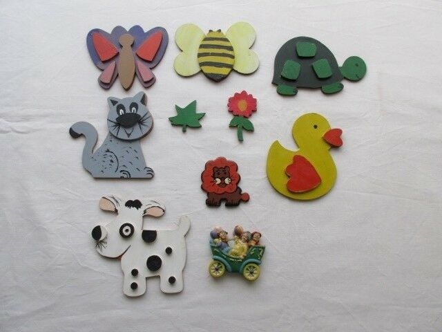 Lote de 10 figuras animales infantiles y otras, pintadas a