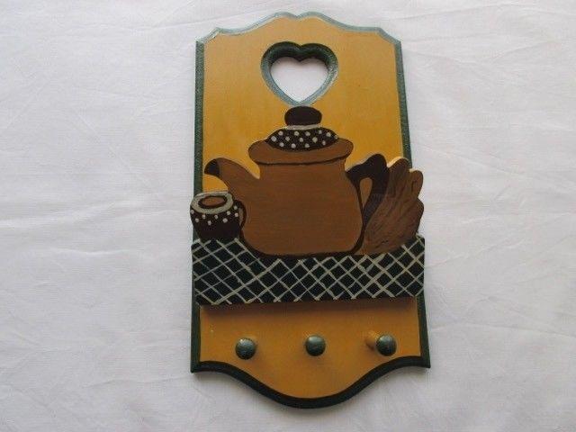 Porta llaves y papeles para colgar, de madera en relieve,
