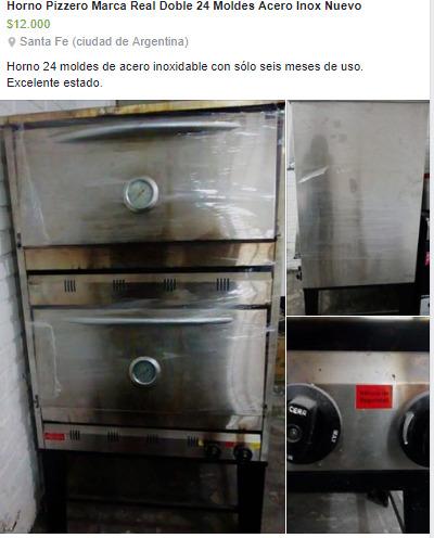 Horno Pizzero Marca Real Doble 24 moldes Acero Inox Nuevo