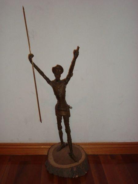 Antigua Figura De Bronce Don Quijote Gigante 60 Cm