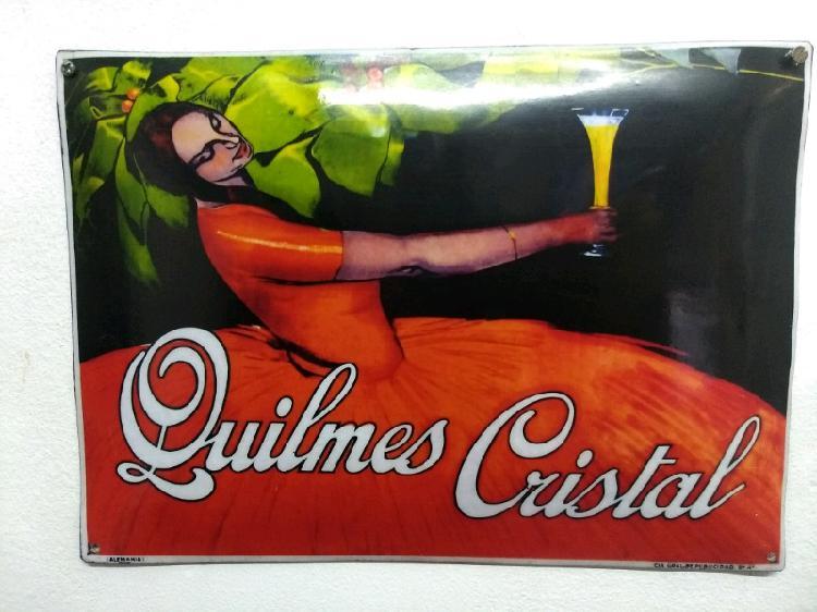 Cartel de Quilmes Cristal - chapa bombe