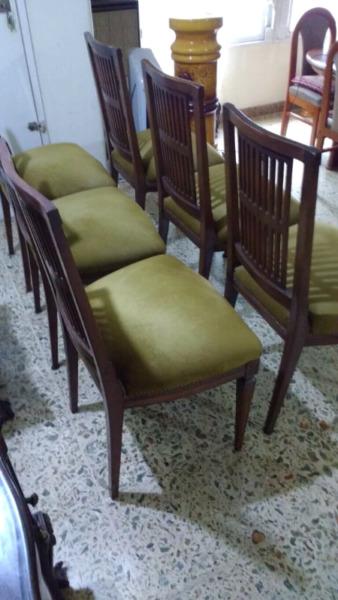 Antiguo juego de sillas estilo inglés en madera de Roble