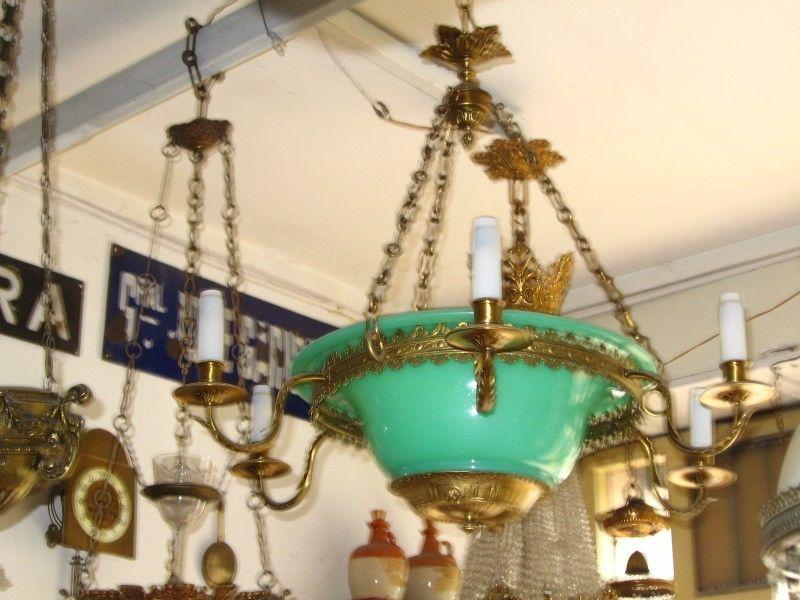 Antigua Araña de Bronce y Cristal de Murano