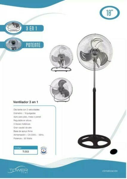 Ventilador De Pie Tower 18p Metalico T-w 3 Velocidades